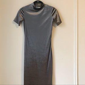 Zara Lavender Velvet Mock Neck Midi Dress